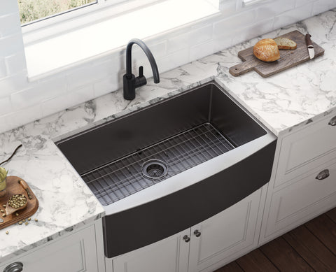 "Ruvati Terraza 36"" Stainless Steel Farmhouse Sink, Gunmetal Matte Black, 16 Gauge, RVH9880BL"