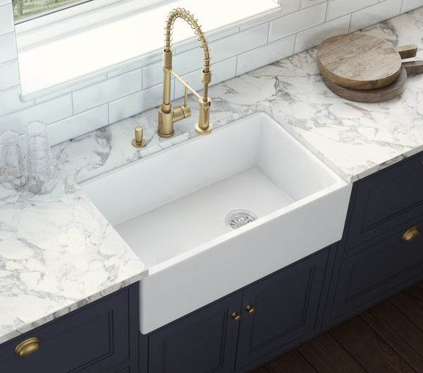 "Ruvati Fiamma 30"" Fireclay Farmhouse Sink, White, RVL2018WR"