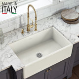 "Ruvati Fiamma 33"" Fireclay Farmhouse Sink, Biscuit, RVL2300BS"