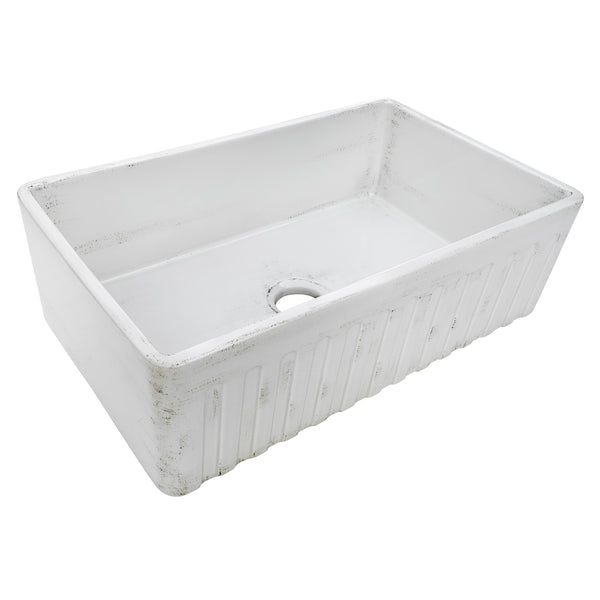 "Ruvati Fireclay 33"" Fireclay Farmhouse Sink, Distressed White, RVL2300SW"