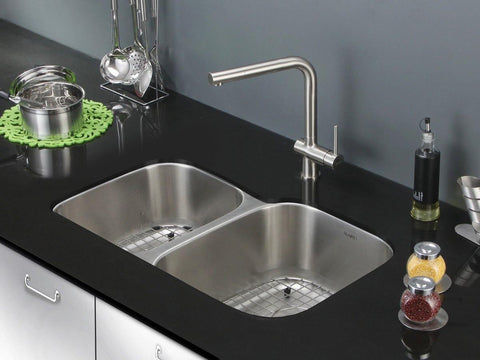 "Ruvati Parmi 32"" Undermount Stainless Steel Kitchen Sink, 40/60 Double Bowl, 16 Gauge, RVM4315"