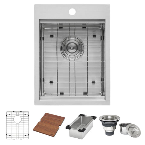 Ruvati Outdoor BBQ Workstation Sink 15 x 20 inch Topmount Marine Grade T-316 Stainless Steel RV Boat Tiny Home - RVQ5210