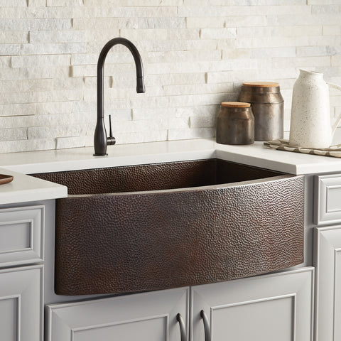 "Native Trails Rhapsody 33"" Copper Farmhouse Sink, Antique Copper, CPK295"