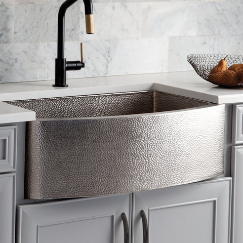 "Native Trails Rhapsody 33"" Nickel Farmhouse Sink, Brushed Nickel, CPK595"