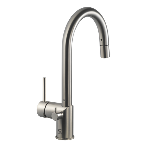 Houzer Sentinel Pull Down Kitchen Faucet Hot Water Safety Brushed Nickel, SENPD-466-BN