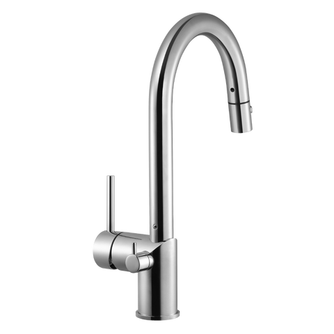 Houzer Sentinel Pull Down Kitchen Faucet with Hot Water Safety Switch Polished Chrome, SENPD-466-PC