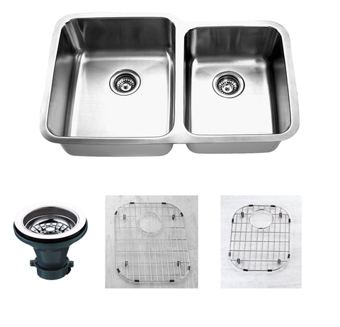 "Empire Industries Premium 32"" Stainless Steel Kitchen Sink, 55/45 Double Bowl, 16 Gauge, SP-15LC"