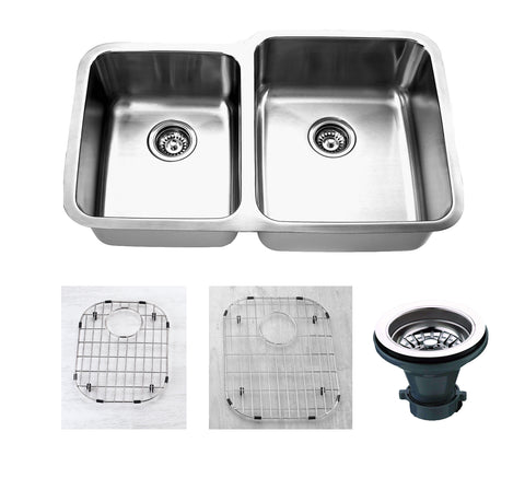 "Empire Industries Premium 32"" Stainless Steel Kitchen Sink, 45/55 Double Bowl, 16 Gauge, SP-15RC"