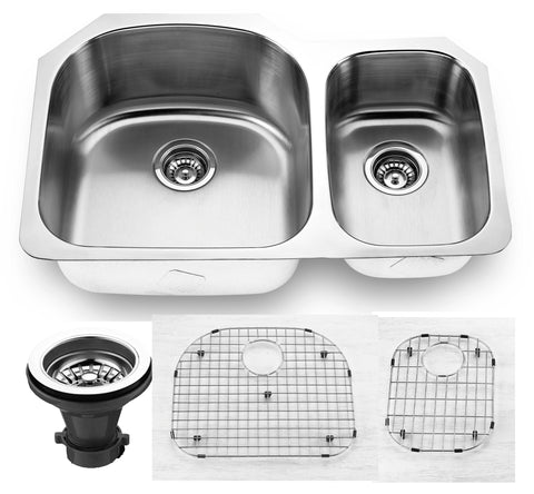 "Empire Industries Premium 32"" Stainless Steel Kitchen Sink, 65/35 Double Bowl, 16 Gauge, SP-5C"