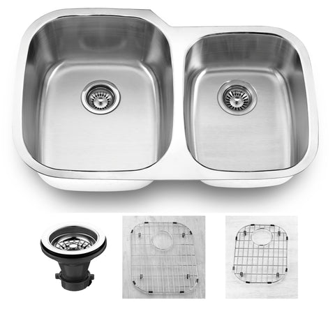 "Empire Industries Premium 32"" Stainless Steel Kitchen Sink, 55/45 Double Bowl, 16 Gauge, SP-6C"