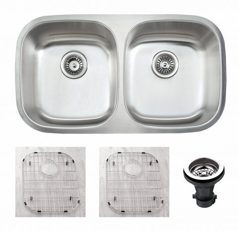 "Empire Industries Premium 33"" Stainless Steel Kitchen Sink, 50/50 Double Bowl, 16 Gauge, SP-9C"
