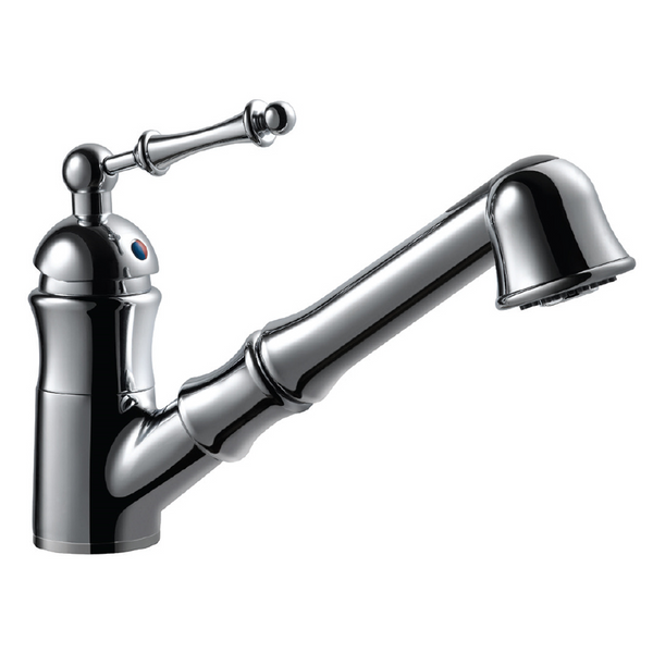 Houzer Squire Pull Out Traditional Kitchen Faucet with CeraDox Technology Polished Chrome, SQUPO-176-PC