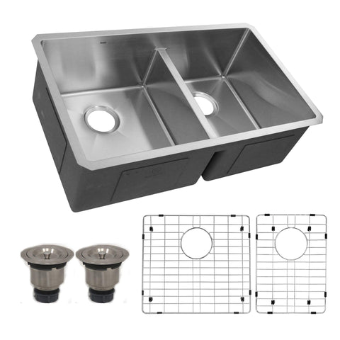 "Nantucket Sinks Pro Series 32"" Undermount 304 Stainless Steel Kitchen Sink with Accessories, 55/45 Double Bowl, Silver, SR3219-OS-16"