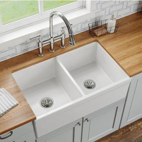 "Elkay 33"" Fireclay Farmhouse Kitchen Sink, 50/50 Double Bowl, White, SWUF32189WH"