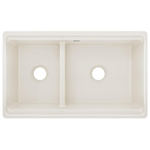 "Elkay 33"" Fireclay Farmhouse Kitchen Sink, 40/60 Double Bowl, Biscuit, SWUF3320BI"