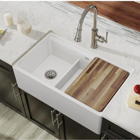 "Elkay 33"" Fireclay Farmhouse Kitchen Sink, 40/60 Double Bowl, White, SWUF3320WH"