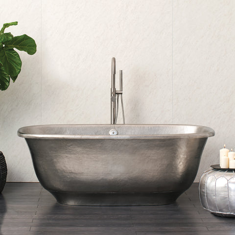 "Native Trails 66"" Nickel Santorini Bathtub, Brushed Nickel, CPS945"