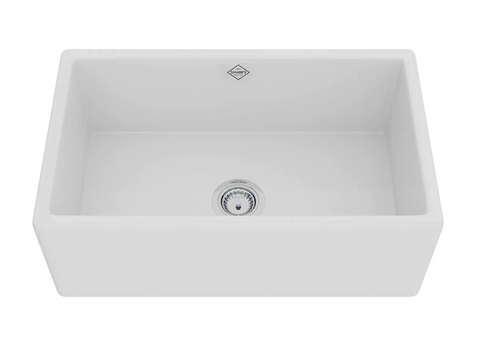"Rohl Shaws 30"" Fireclay Single Bowl Thin Farmhouse Apron Kitchen Sink, White, MS3018WH"