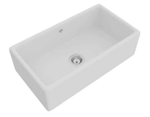 "Rohl Shaws 33"" Fireclay Single Bowl Farmhouse Apron Kitchen Sink, White, RC3318WH"