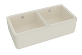 "Rohl Shaws 36"" Fireclay 50/50 Double Bowl Farmhouse Apron Kitchen Sink, Parchment, RC3719PCT"