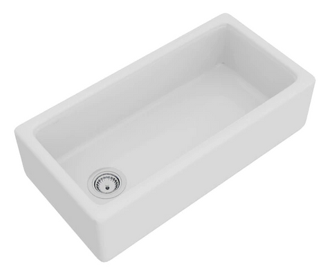 "Rohl Shaws 36"" Fireclay Single Bowl Farmhouse Apron Kitchen Sink, White, RC3618WH"