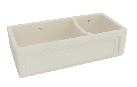 "Rohl Shaws 40"" Fireclay 70/30 Double Bowl Farmhouse Apron Kitchen Sink, Parchment, RC4018PCT"