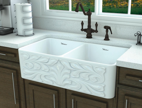 "Whitehaus 33"" Fireclay Double Bowl Farmhouse Apron Sink, White, WHFLGO3318 - The Sink Boutique"