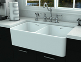 "Whitehaus 33"" Fireclay Double Bowl Farmhouse Apron Sink, White, WHFLPLN3318 - The Sink Boutique"