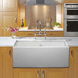 "Rohl Shaws 30"" Fireclay Single Bowl Thin Farmhouse Apron Kitchen Sink, Parchment, MS3018PCT - The Sink Boutique"