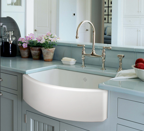 "Rohl Shaws 30"" Fireclay Single Bowl Farmhouse Curved Apron Kitchen Sink, White, RC3021WH - The Sink Boutique"