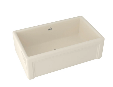 "Rohl Shaws 30"" Fireclay Single Bowl Farmhouse Apron Kitchen Sink, Parchment, RC3017PCT"
