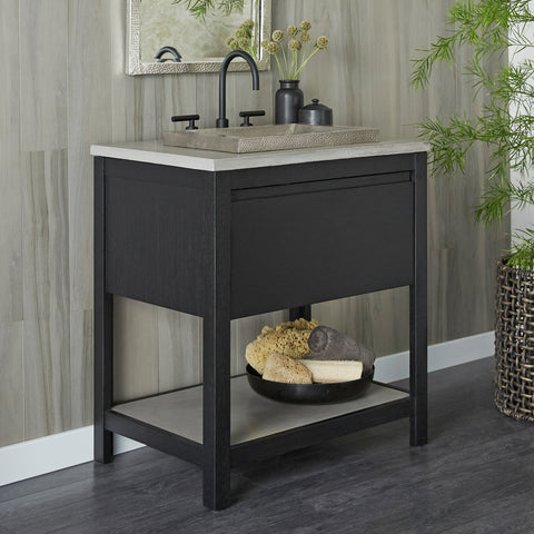 "Native Trails 30"" Solace Vanity in Midnight Oak with Ash Shelf, VNO308-A"