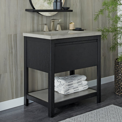 "Native Trails 30"" Solace Vanity Base in Midnight Oak with Palomar Vanity Top and Sink, Ash, VNO308-A-NSVNT30-A"