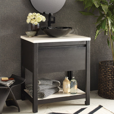 "Native Trails 30"" Solace Vanity in Midnight Oak with Pearl Shelf, VNO308-P"