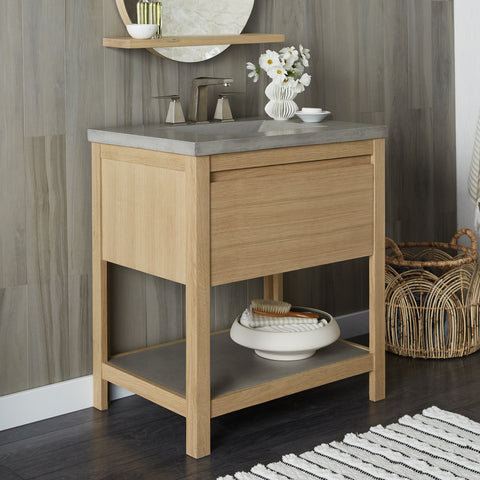 "Native Trails 30"" Solace Vanity Base in Sunrise Oak with Palomar Vanity Top and Sink, Ash, VNO301-A-NSVNT30-A"