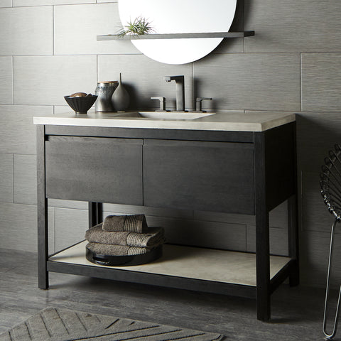 "Native Trails 48"" Solace Vanity in Midnight Oak with Ash Shelf, VNO488-A"