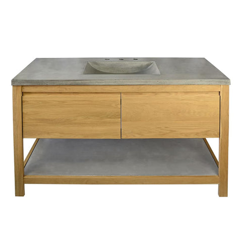 "Native Trails 48"" Solace Vanity Base in Sunrise Oak with Palomar Vanity Top and Sink, Ash, VNO481-A-NSVNT48-A"