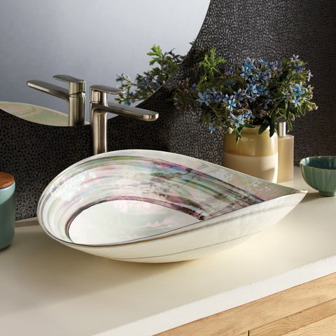 "Native Trails Murano 20"" Rectangle Glass Bathroom Sink, Abalone, MG2017-AE"