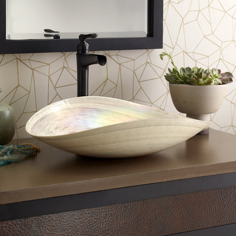"Native Trails Murano 20"" Rectangle Glass Bathroom Sink, Beachcomber, MG2017-BR"