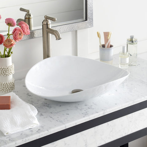 "Native Trails Murano 20"" Rectangle Glass Bathroom Sink, Bianco, MG2017-BO"