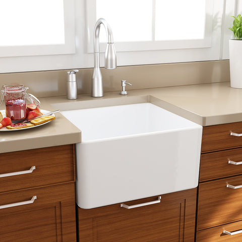 "Nantucket Sinks Cape 20"" Fireclay Farmhouse Sink, White, T-FCFS20"