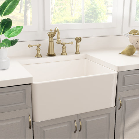 "Nantucket Sinks Cape 24"" Fireclay Farmhouse Sink, White, T-FCFS24"