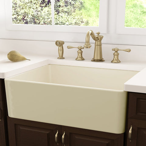 "Nantucket Sinks 30"" Fireclay Farmhouse Sink, Bisque, Cape Collection, FCFS30B"