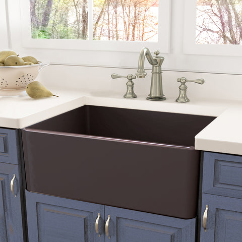 "Nantucket Sinks Cape 30"" Fireclay Farmhouse Sink, Coffee Brown, T-FCFS30CB"