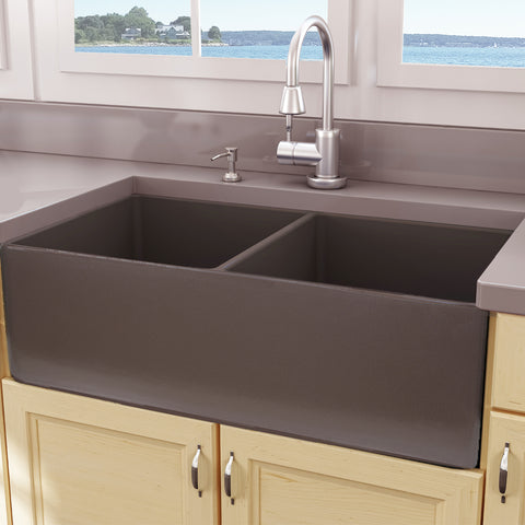 "Nantucket Sinks Cape 33"" Fireclay Farmhouse Sink, 50/50 Double Bowl, Coffee Brown, T-FCFS33CB-DBL"