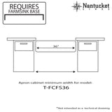 "Nantucket Sinks Cape 36"" Fireclay Farmhouse Sink, White, T-FCFS36"