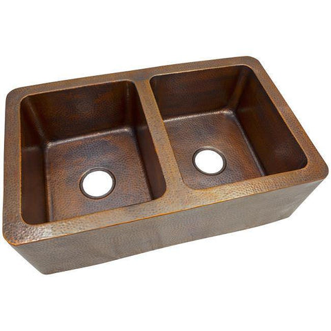 The Copper Factory CF166AN Double Bowl Farmhouse Sink