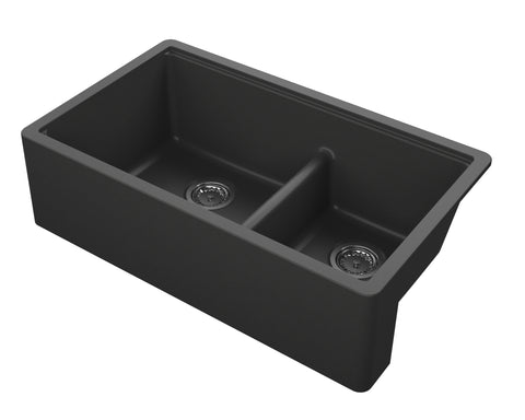 "Empire Industries Titan 34"" Granite Composite Farmhouse Sink, 60/40 Double Bowl, Black, TF33DBG"