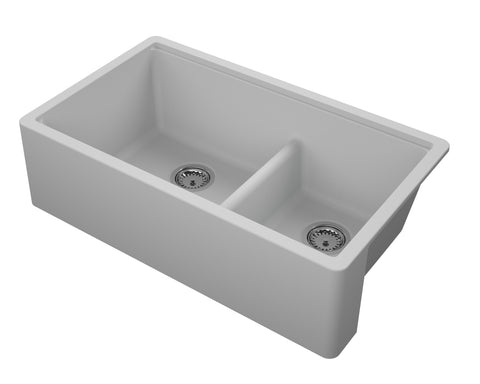 "Empire Industries Titan 34"" Granite Composite Farmhouse Sink, 60/40 Double Bowl, Grey, TF33DGG"