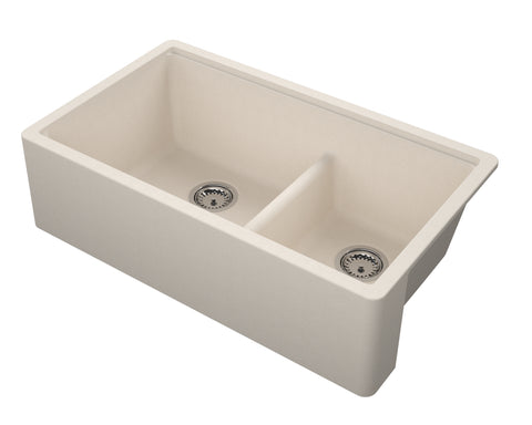 "Empire Industries Titan 34"" Granite Composite Farmhouse Sink, 60/40 Double Bowl, TF33DTG"